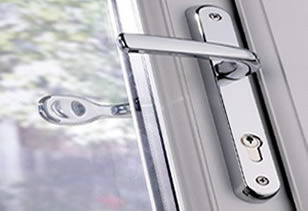 uPVC Door lock silver and white